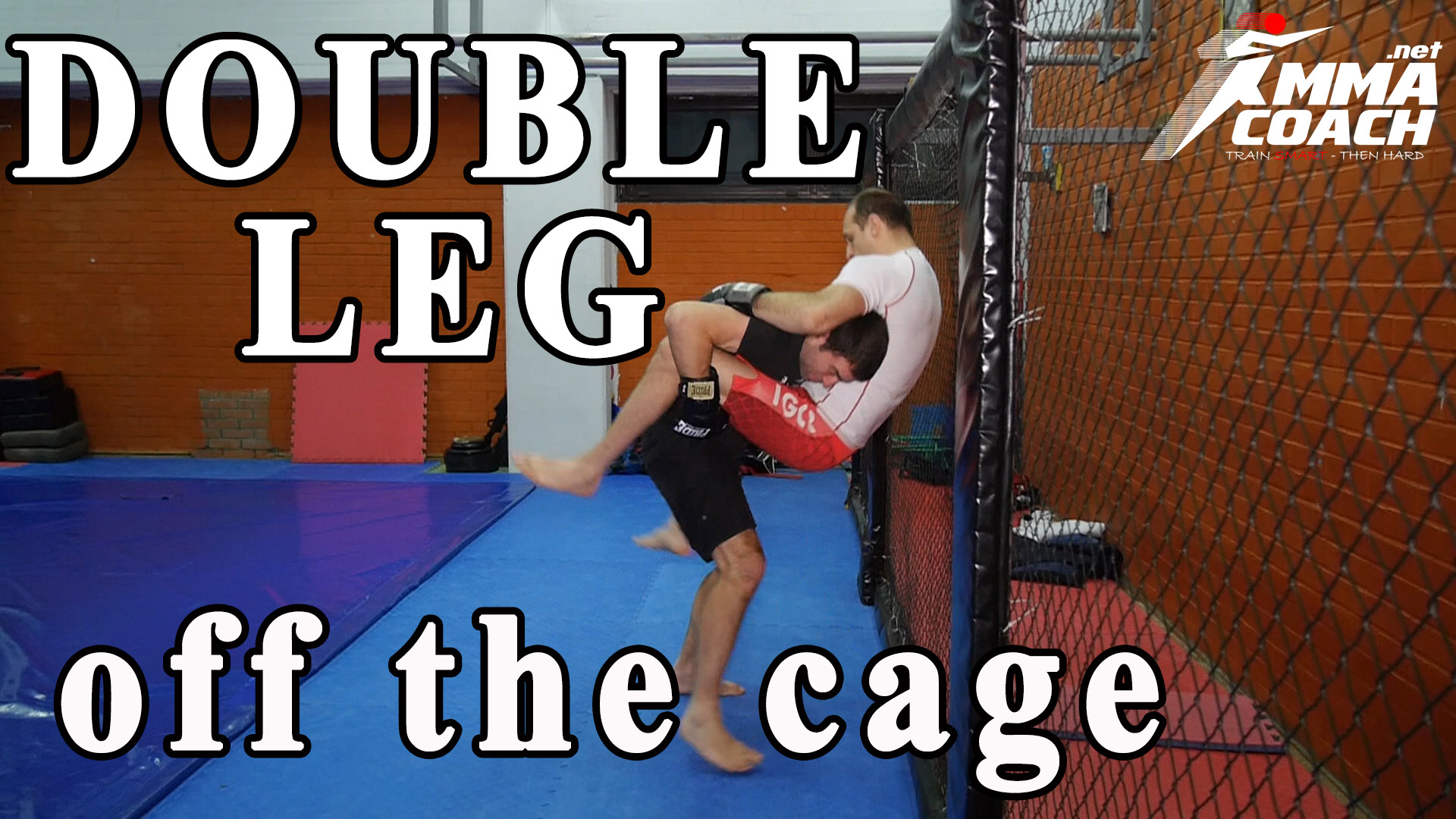 Double leg takedown off the cage